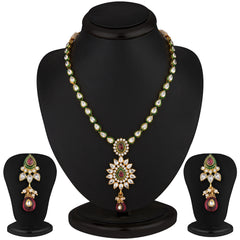 Sukkhi Classy Gold Plated CZ Rodo Light Necklace Set