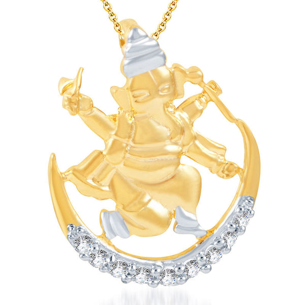 Pissara Incredible Gold and Rhodium Plated CZ God Pendant
