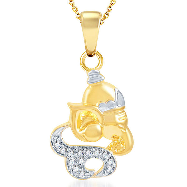Pissara Lavish Gold and Rhodium Plated CZ God Pendant