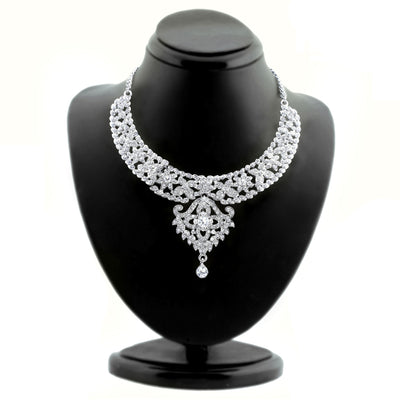 Sukkhi Beguiling Rhodium plated AD Stone Studded Necklace Set-1