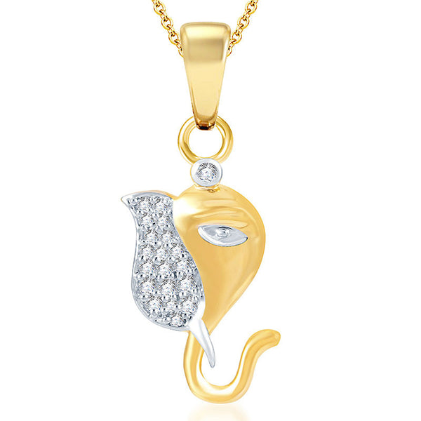 Pissara Youthful Gold and Rhodium Plated CZ God Pendant