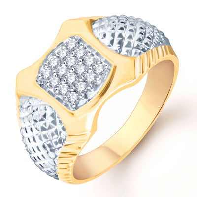 Pissara Modish Gold Plated CZ Set of 3 Gents Ring Combo Men-2