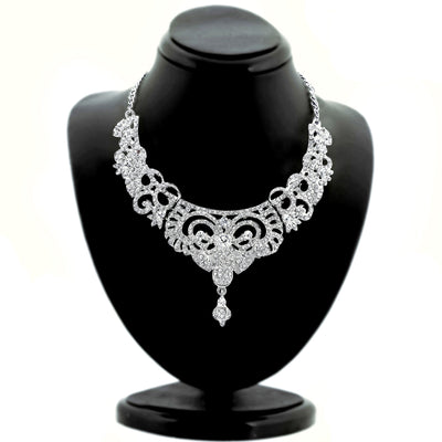 Sukkhi Bewitching Rhodium plated AD Stone Studded Necklace Set-1