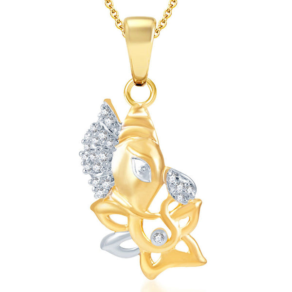 Pissara Indian Wedding Gold and Rhodium Plated CZ God Pendant