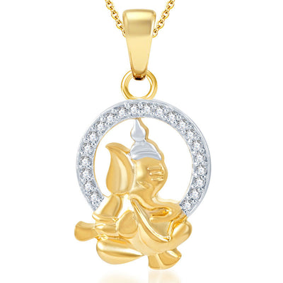 Pissara Ravishing Ganesha Gold Plated Set of 3 God Pendant with Chain Combo-2