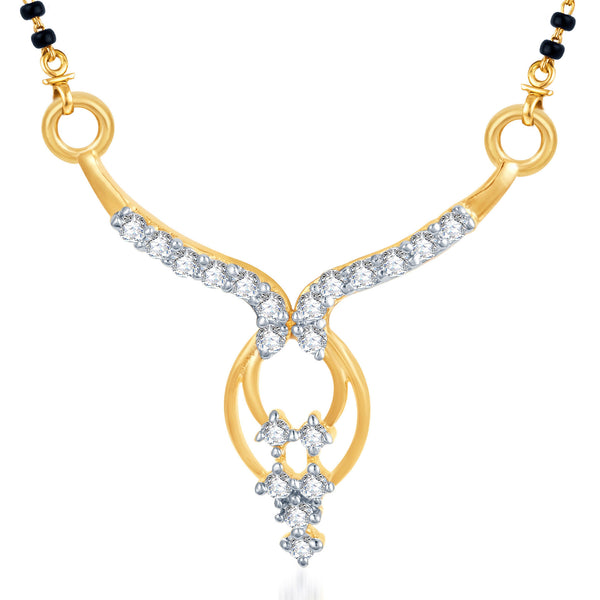 Pissara Traditional CZ Gold and Rhodium Plated Mangalsutra Pendant