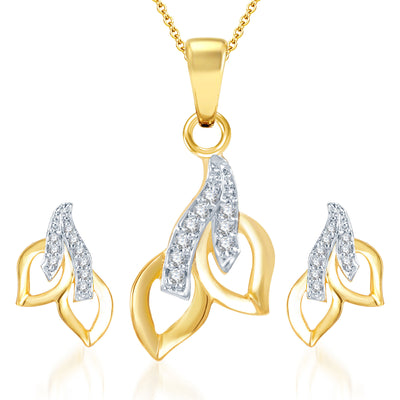 Pissara Glimmery Gold and Rhodium Plated CZ Pendant Set