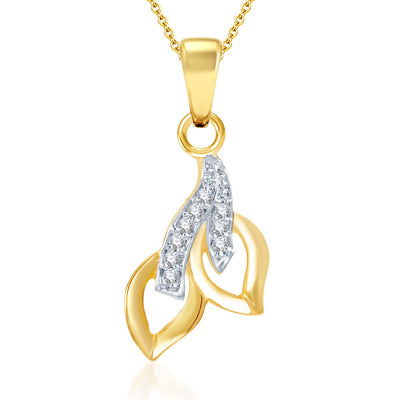 Pissara Glimmery Gold and Rhodium Plated CZ Pendant Set-1