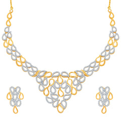 Pissara Lavish Gold and Rhodium Plated CZ Necklace Set