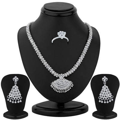 Sukkhi Rhodium Plated Necklace Set - 1165VN1750