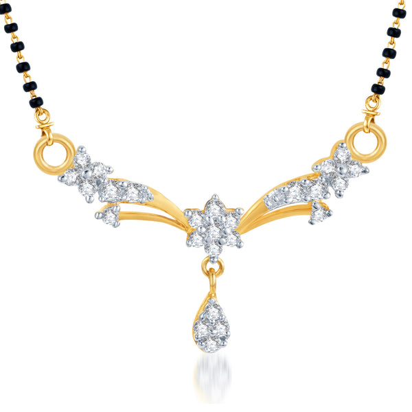 Pissara Classic Traditional CZ Gold and Rhodium Plated Mangalsutra Pendant