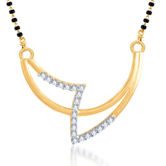 Pissara Creative Fashion CZ Gold and Rhodium Plated Mangalsutra Pendant