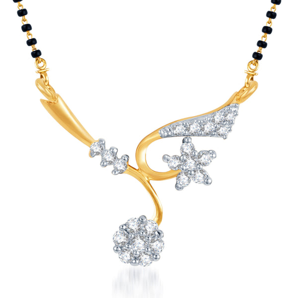 Pissara Elegant Wedding CZ Gold and Rhodium Plated Mangalsutra Pendant