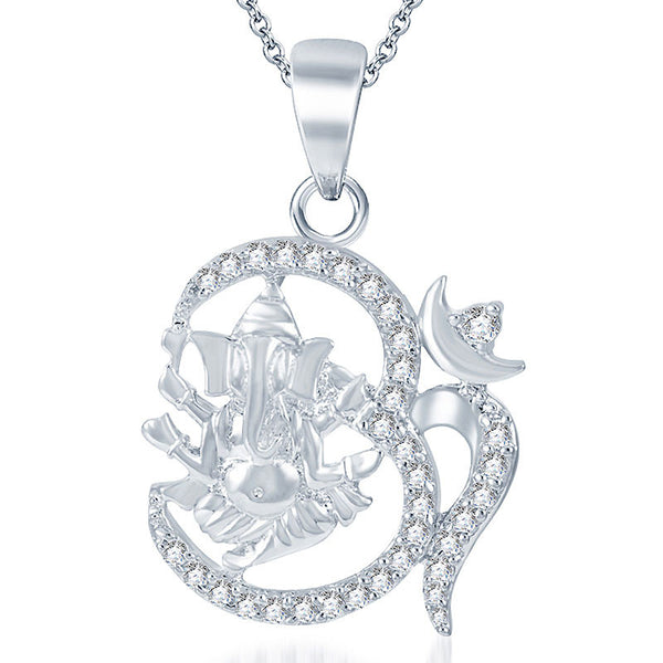 Pissara Sublime Rhodium plated CZ God Pendant