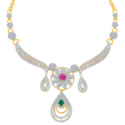 Pissara Youthful Ruby and Emerald Studded Gold and Rhodium Plated CZ Necklace Set-1
