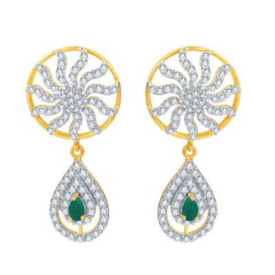 Pissara Youthful Ruby and Emerald Studded Gold and Rhodium Plated CZ Necklace Set-2