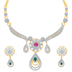Pissara Youthful Ruby and Emerald Studded Gold and Rhodium Plated CZ Necklace Set
