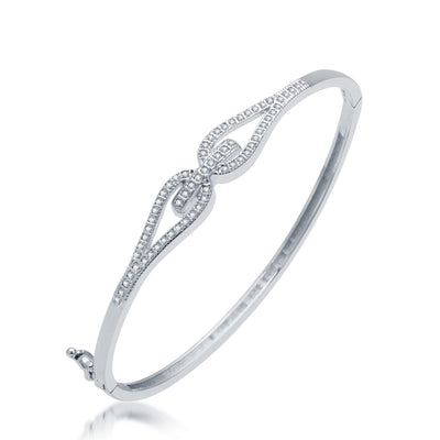 Pissara Glimmery Rhodium Plated CZ Micro Pave Kada for Women
