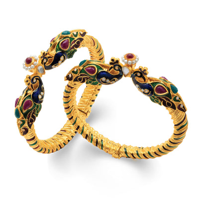 Sukkhi Amazing Peacock Gold Plated One Pair of Kada for Women