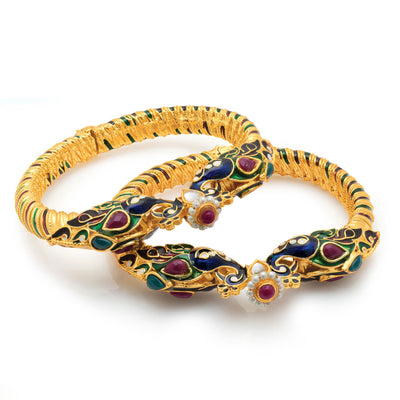 Sukkhi Amazing Peacock Gold Plated One Pair of Kada for Women-1