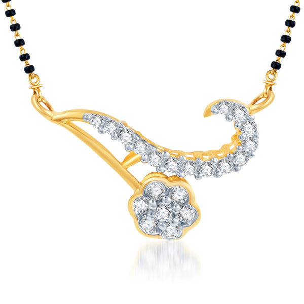 Pissara Delightly Crafted CZ Gold and Rhodium Plated Mangalsutra Pendant