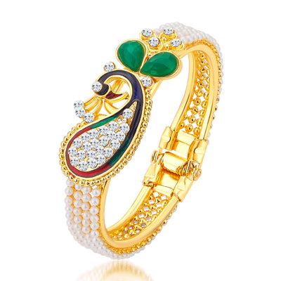 Sukkhi Marquise Pecock Gold Plated AD Kada For Women