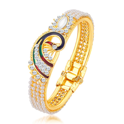 Sukkhi Exquisite Pecock Gold Plated AD Kada For Women