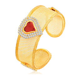 Sukkhi Sparkling Heart Shape Gold Plated AD Kada For Women