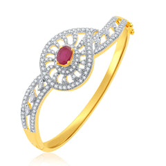 Pissara Dangling Gold And Rhodium Plated Ruby CZ Kada For Women