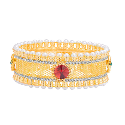 Sukkhi Glimmery Gold Plated AD Kada For Women-1