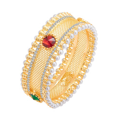 Sukkhi Glimmery Gold Plated AD Kada For Women