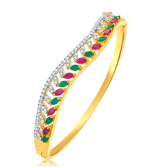 Pissara Kindled Gold And Rhodium Plated Ruby CZ Kada For Women