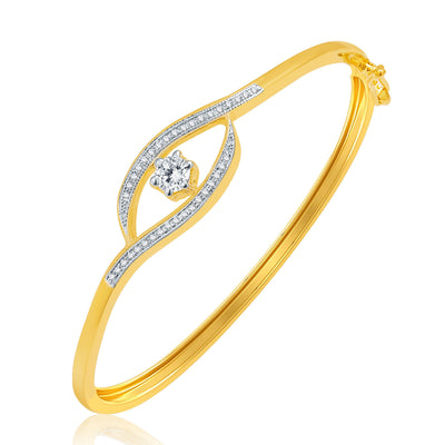 Pissara Cheerful Gold And Rhodium Plated CZ Kada For Women