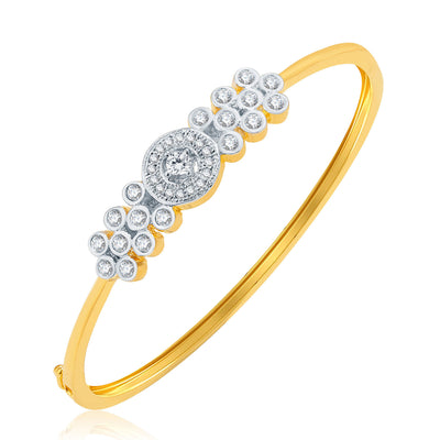 Pissara Vibrant Gold And Rhodium Plated CZ Kada For Women