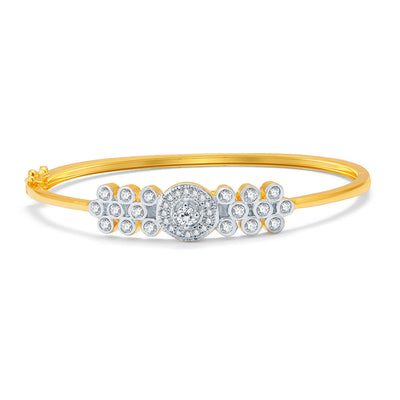 Pissara Vibrant Gold And Rhodium Plated CZ Kada For Women-1