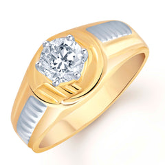 Pissara Gold and Rhodium Plated Solitaire CZ Ring for Men(121GRK590)