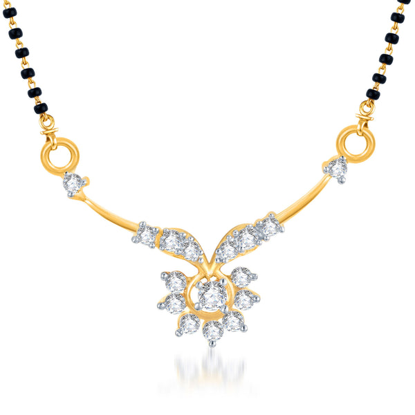 Pissara Gracefull CZ Gold and Rhodium Plated Mangalsutra Pendant