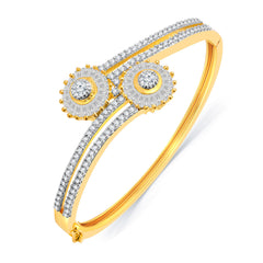 Pissara Glossy Gold And Rhodium Plated CZ Kada For Women