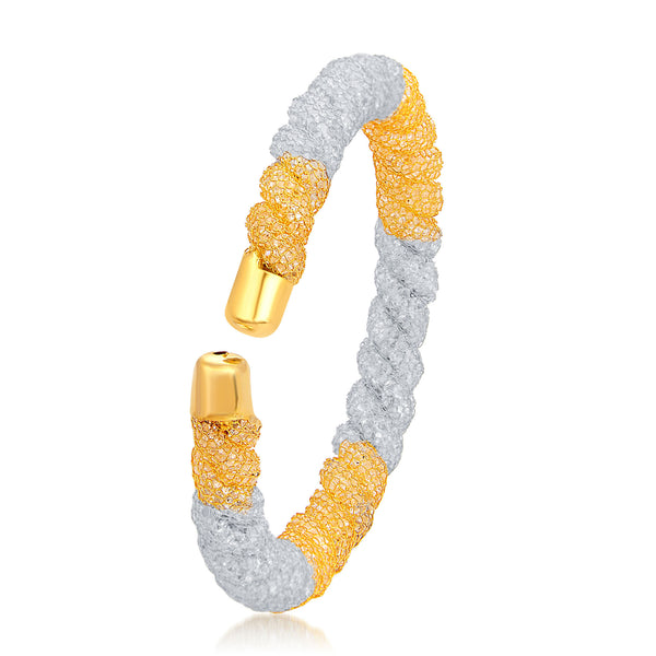 Sukkhi Fashionable Gold & Rhodium Plated AD Kada For Women