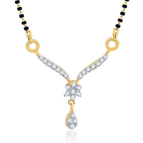 Pissara Sleek CZ Gold and Rhodium Plated Mangalsutra Pendant