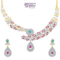 15000Pissara Marvellous Ruby and Emerald Studded Gold and Rhodium Plated CZ Necklace Set