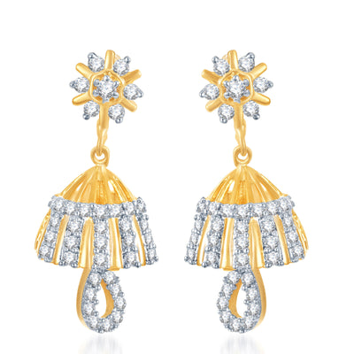 Pissara Youthful Gold and Rhodium Plated CZ Jhumki-1