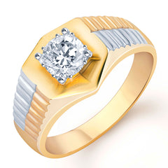Pissara Gold and Rhodium Plated Solitaire CZ Ring for Men(124GRK650)