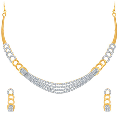 Pissara Stunning Gold and Rhodium Plated CZ Necklace Set