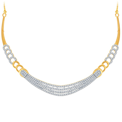 Pissara Stunning Gold and Rhodium Plated CZ Necklace Set-1