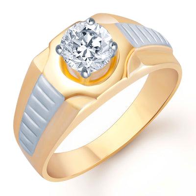 Pissara Glimmery Gold Plated Solitaire Set of 3 Gents Ring Combo Men-3