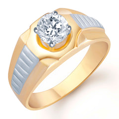 Pissara Gold and Rhodium Plated Solitaire CZ Ring for Men(125GRK700)