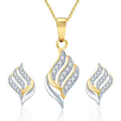Pissara Well Crafted Gold and Rhodium Plated CZ Pendant Set