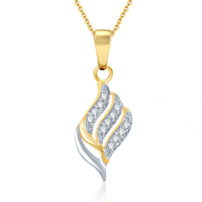 Pissara Well Crafted Gold and Rhodium Plated CZ Pendant Set-1