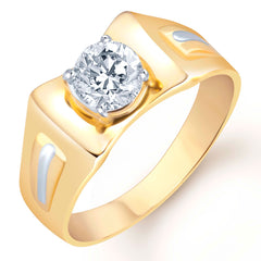 Pissara Gold and Rhodium Plated Solitaire CZ Ring for Men(126GRK530)